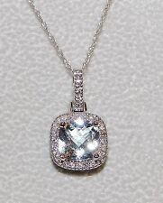 10Kt Sapphire White Gold w Diamonds Necklace cushion cut