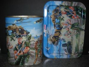RARE ARAH 1987 VINTAGE GI JOE WASTE CAN WITH MATCHING SNACK TV TRAY
