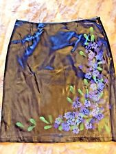 NEW! $148 CACHE BLUE SATIN SKIRT HAND PAINTED LILAC FLOWERS Boho Cocktail sz 4