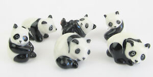Hand Painted Miniature Panda figurine (Tiny) Set of 6