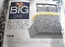 The Big One - Twin/Xl 6-Piece Gray/White Scroll Comforter Set - Brand New In Bag