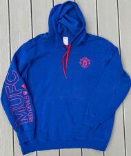 ADIDAS Manchester United MUFC Men's 2XL Hoodie Sweatshirt Soccer Spell Out Blue