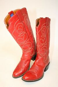 The Sanders Womens size 270 /7 Vintage RARE Red Leather Western Cowboy Boots