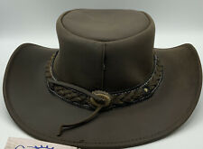 Conner Handmade Hats Down Under Leather Hat Made (Brown) (Extra-Large)
