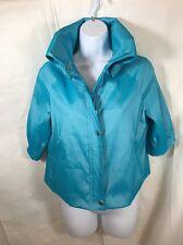 Samuel Dong Women's Blue Turquoise Half Sleeve Crop Ruffle Jacket Blazer Size S