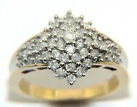 Ladies Womens 9ct 9carat Yellow Gold Diamond Cluster Engagement Ring  Size P 1/2