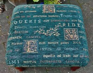 LARGE BLUE CHENILLE FOOTSTOOL~LATIN INSCRIPTIONS~TURNED WOOD LEGS~GOOD CONDITION