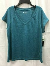 Ideology Women Vneck Seam Tee Aquatic Teal Heather L