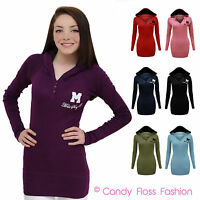 CLEARANCE NEW LADIES MISS SEXY HOODED WOMENS T SHIRT DRESS HOODIE JUMPER TOP