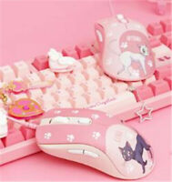 Anime Sailor Moon Wired Mouse Cartoon Pink USB Computer PC MacBook