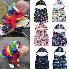 Toddler Kids Baby Grils Boy Sleeveless Flower Print Hooded Winter Warm Coat Vest