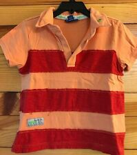 Naarthie Boys Orange & Red Color Block Mock Polo Frayed Shark Shirt Size 4
