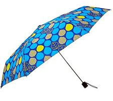 Totes Light N' Go Trekker Umbrella With Manual Open Blue/Yellow Leaves - 39""