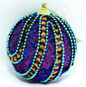 LARGE SPARKLING PURPLE BALL AWESOME BEAD WORK CHRISTMAS TREE DECOR ORNAMENT. NEW