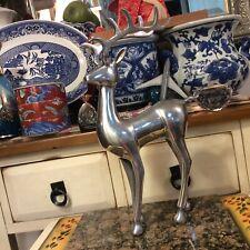"""Christmas Reindeer Deer silver Metal Figurine 14"""" tall"""