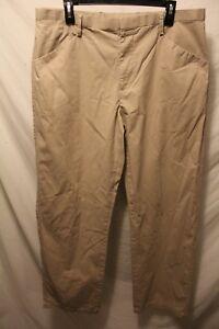 Murano Mens Dress Pant Khaki 100% Cotton Flat Front Sz 36x33