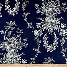 Waverly Country House Toile Indigo Blue Fabric By The Yard