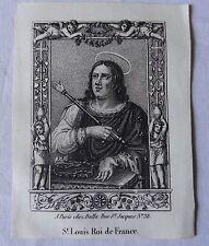 Rare image pieuse vignette XVIIIe gravure Saint Louis roi de France