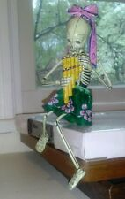 Day of the Dead Skeleton Pink Bow Playing Pipe Instrument Collectible Figurine