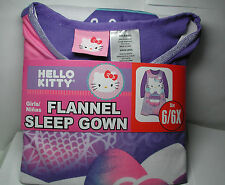 New Girls HELLO KITTY Flannel NIGHTGOWN Sleep Gown Sleepwear Size 6/6x