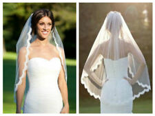 White Bridal Wedding Veil 1 Tier Elbow Length Lace Trim with Comb Handmade