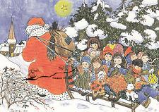 Kunstkarte: Heide Dahl - Schlittenpartie / Weihnachtsmann