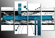 TEAL WHITE GREY ABSTRACT CANVAS PICTURE WALL ART SPLIT MULTI 4 PIECE 100cm wide