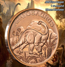 """Apatosaurus"" Dinosaur Round 1 oz .999 Copper part of Dinosaur series"