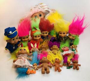Vintage Troll Doll Mixed Lot 21 Russ Rainforest TNT Pebble Ring Pencil Topper
