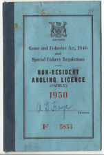 1950 Ontario Canada Non-Resident Fishing Angling Family Licence - Foye Family