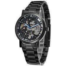 Winner Men's Skeleton Automatic Mechanical Black Stainless Steel Men Wrist Watch
