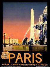 Viaggi TURISMO LUXOR OBELISCO Concorde FONTANA PARIS FRANCIA FERROVIA poster 2424py