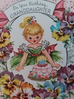 UNUSED Vtg GLITTER GIRL CAKE GRANDDAUGHTER BIRTHDAY GREETING CARD
