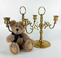 "Set 2 9"" Brass Candlesticks Candle Holders Ornate 2 Arm Shabby Chic Décor Vtg"