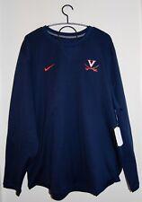NWT Nike Men's B&T NCAA UVA Cavaliers Navy Blue Modern Crew LS Sweatshirt 3X