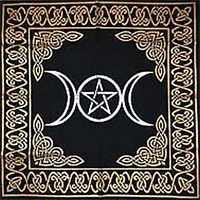 "Altar Tarot Cloth: Triple Goddess With Pentagram - 24"" x 24"" (Gold/Silver on ..."