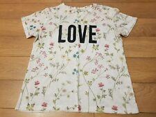 Women's Papaya t shirt top floral Love festival  size UK 12 white black crew