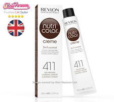 Revlon Professional Nutri Color Creme 411 Ash Brown 100ml TUBE 3 in 1 Colour
