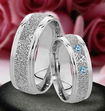 2 Silber  Trauringe mit echten Blautopas und echten Diamant & Gravur J30-3BD