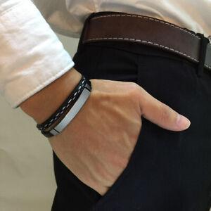 Stainless Steel Bracelets&Bangle Men PU Leather Cuff Bracelet Wrist Band Jeweley
