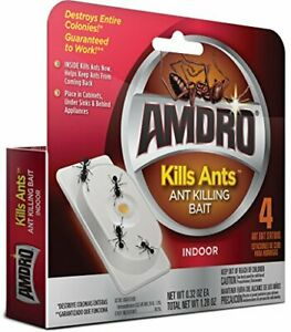 AMDRO Kills Ants Bait Stations, 4 pk, Kills the Queen & Entire Colony
