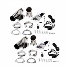 "2 Set Universal Electric Exhaust 2.5"" Inch Cutout Electric Cutout Kit Remote"