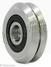 Pack of 4 RM2-2RS 3/8 inch V Groove Roller Bearing Rubber Sealed Line Track 4PK