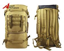 50L Heavy Duty Military Army Backpack Tactical Hiking Rucksack Shoulder Bag Tan