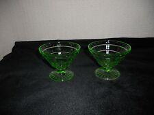2 Hocking Glass Co. Uranium Green Block Optic Cone-shaped Sherbets