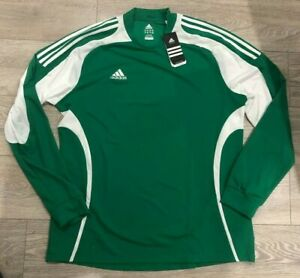 ADIDAS Mens football rugby sports activewear green shirt top jersey 2XL XXL NEW