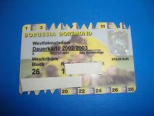 2002 Dauerkarte  Dortmund Eintrittskarte Ticket Sammler Bundesliga