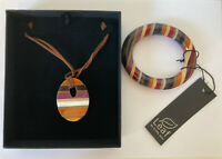 Stone Resin Jewellery Set Bangle Necklace Purple Stripe Leaf By Emma Jane