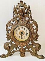 Antique Bronzed Cast Iron Victorian Shelf Mantle Clock Ornate Cherub Gargoyles