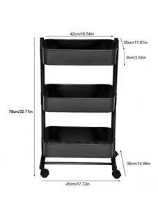 3 Tier Black Trolley Cart Storage Salon Kitchen Bedroom Utility